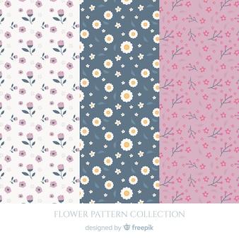 Coleção de padrão de flores planas