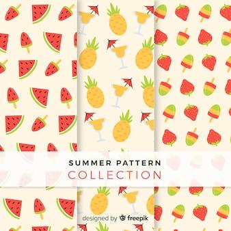 Coleção de padrão de fruta verão plana