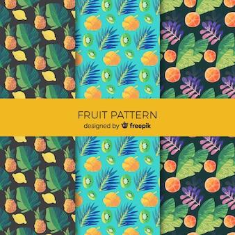 Coleção de padrão de frutas tropicais em aquarela