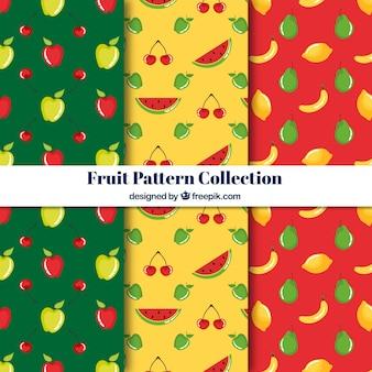 Coleção de padrão de frutas verde, amarelo e vermelho