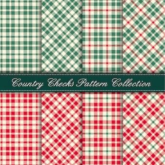 Coleção de padrão de guingão acolhedor país vermelho e verde