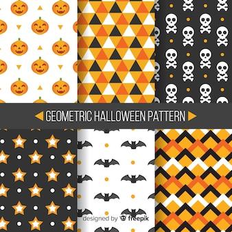 Coleção de padrão de halloween colorido com design liso