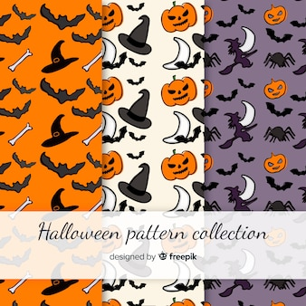 Coleção de padrão de halloween colorido mão desenhada