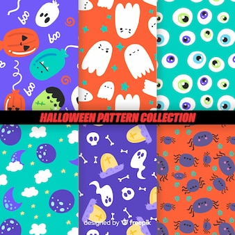 Coleção de padrão de halloween colorido