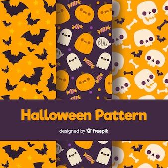 Coleção de padrão de halloween com design plano