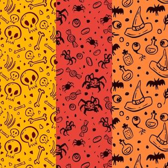 Coleção de padrão de halloween desenhado à mão
