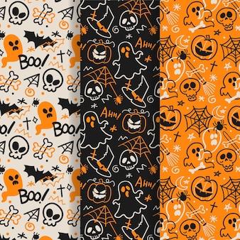 Coleção de padrão de halloween desenhados à mão