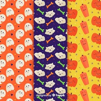 Coleção de padrão de halloween design plano