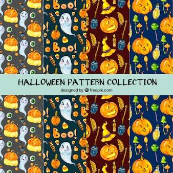 Coleção de padrão de halloween em aquarela