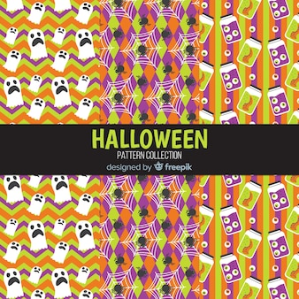 Coleção de padrão de halloween em design plano
