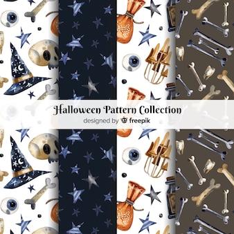 Coleção de padrão de halloween em estilo aquarela