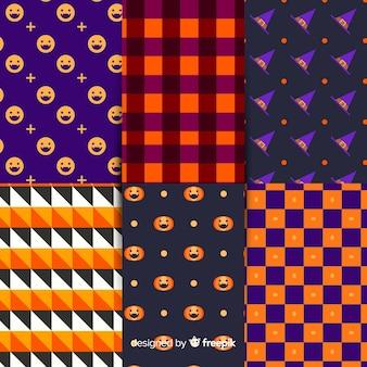 Coleção de padrão de halloween geométrica