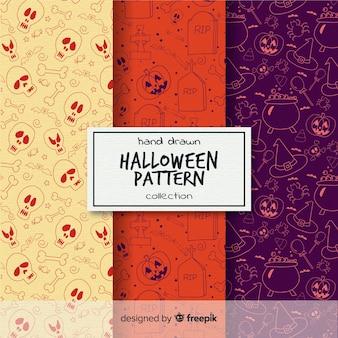 Coleção de padrão de halloween na mão desenhada estilo