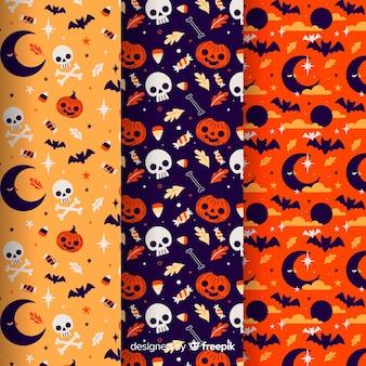Coleção de padrão de halloween no design plano