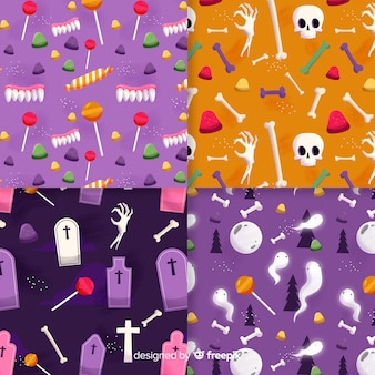 Coleção de padrão de halloween plana