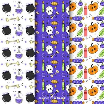 Coleção de padrão de halloween sem emenda