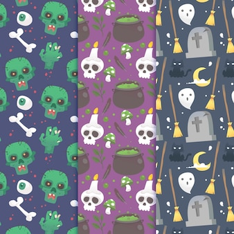 Coleção de padrão de halloween