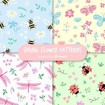 Coleção de padrão de insetos de primavera