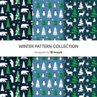 Coleção de padrão de inverno de elementos minúsculos