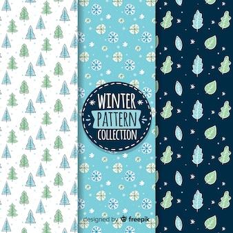 Coleção de padrão de inverno de elementos naturais