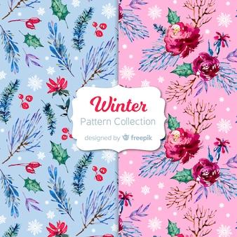 Coleção de padrão de inverno em aquarela