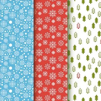 Coleção de padrão de inverno. flocos de neve e árvores de natal