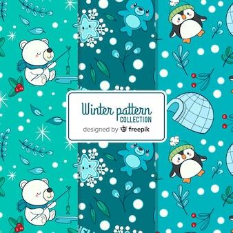 Coleção de padrão de inverno linda mão desenhada