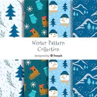 Coleção de padrão de inverno natureza elementos