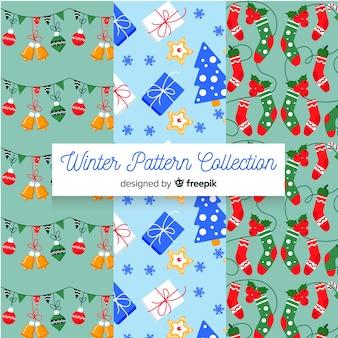 Coleção de padrão de inverno plana