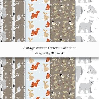 Coleção de padrão de inverno vintage