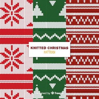 Coleção de padrão de malha colorida de natal