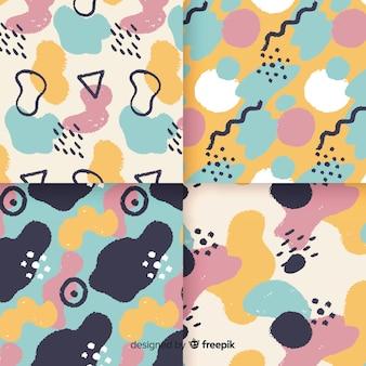 Coleção de padrão de mão desenhada memphis abstrata