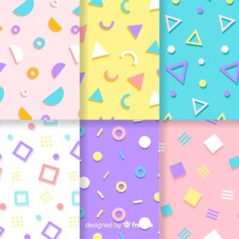 Coleção de padrão de memphis com fundos coloridos