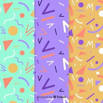 Coleção de padrão de memphis com variedade de cores de fundo