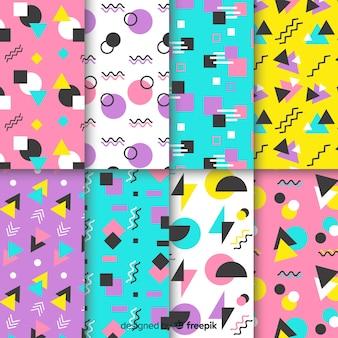 Coleção de padrão de memphis sem costura