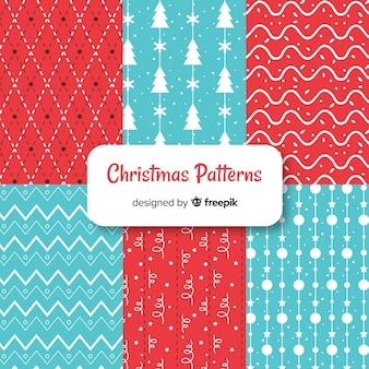 Coleção de padrão de natal colorido com desenho geométrico