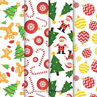 Coleção de padrão de natal com design plano