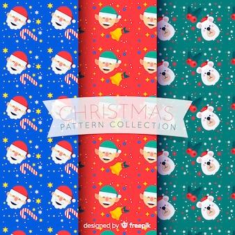 Coleção de padrão de natal com papai noel, duendes e ursos