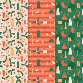Coleção de padrão de natal de design plano