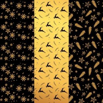 Coleção de padrão de natal dourado