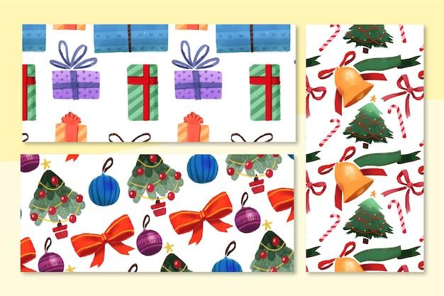Coleção de padrão de natal em aquarela