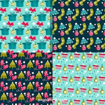 Coleção de padrão de natal em design plano