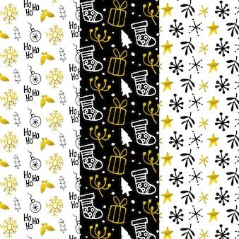 Coleção de padrão de natal preto e dourado