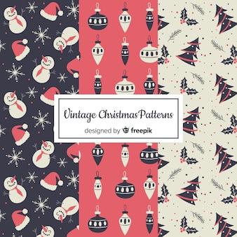 Coleção de padrão de natal vintage