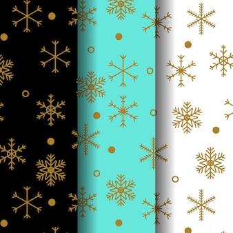 Coleção de padrão de neve dourada