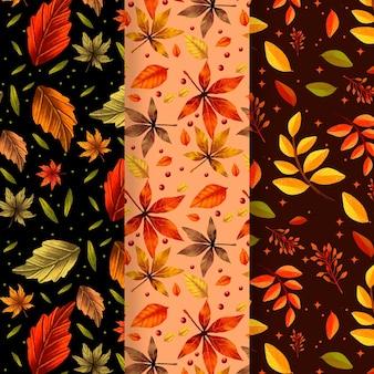 Coleção de padrão de outono desenhada à mão