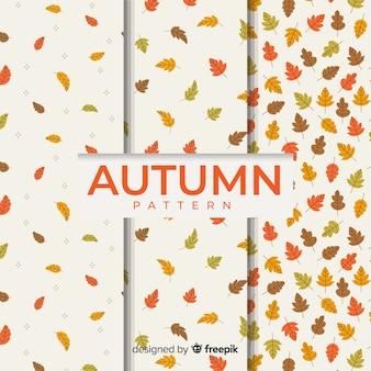 Coleção de padrão de outono design plano