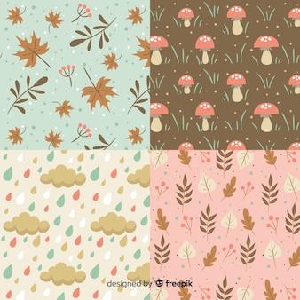 Coleção de padrão de outono estilo vintage