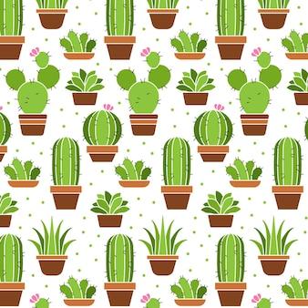 Coleção de padrão de plantas de cacto