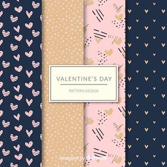 Coleção de padrão de pontos e corações do dia dos namorados